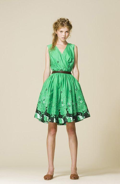 Hokusai Wrap Dress (green, size: XS,S,M)